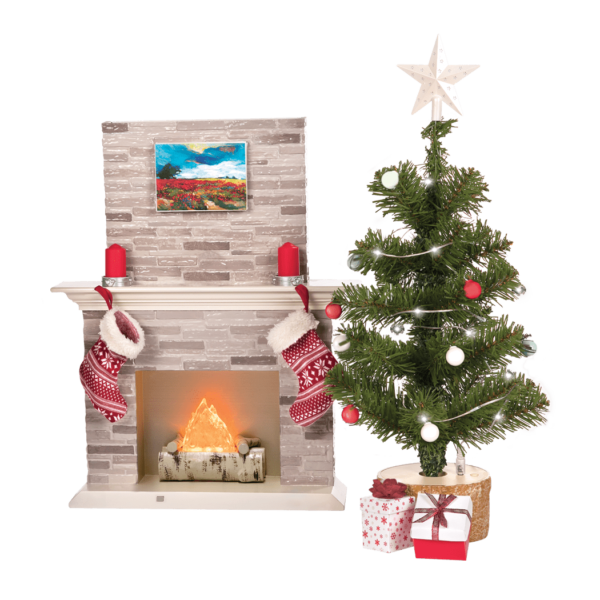 Tree and fireplace detail