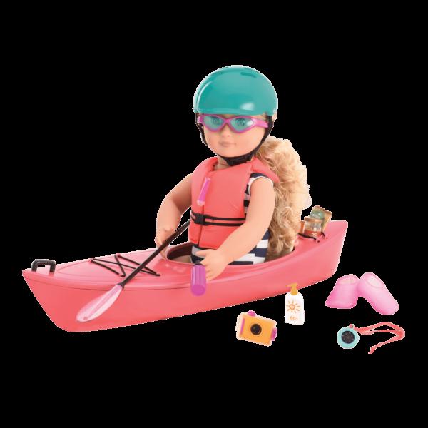 Coral in kayak with helmet on