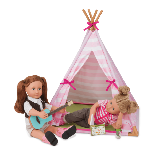 Evelyn and Shannon playing inside teepee
