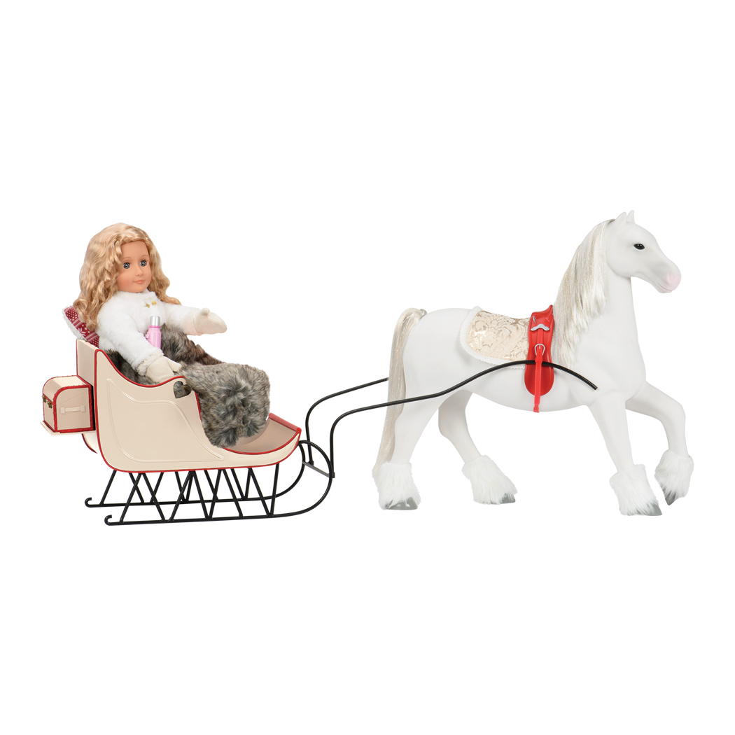 Halia in sled with horse