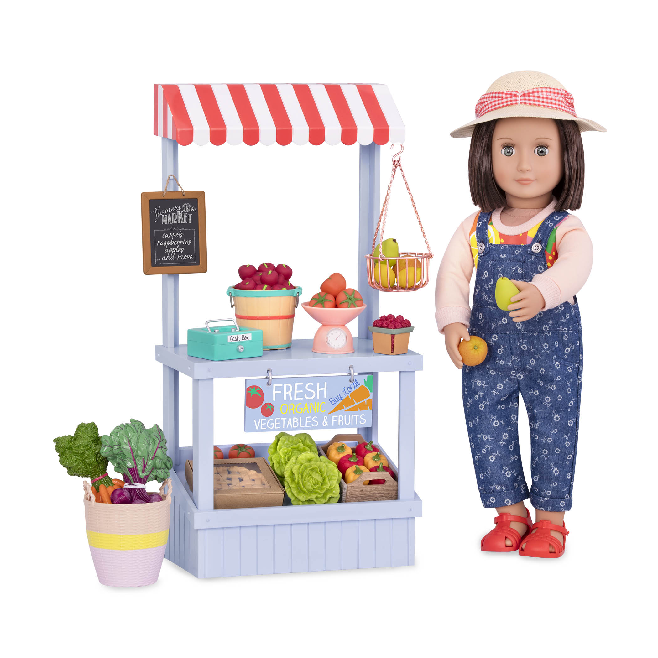 Farmers Market Set with Everly holding fruit