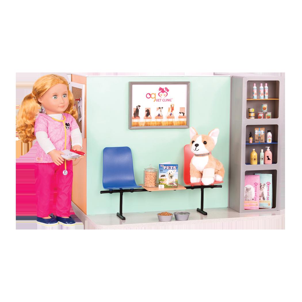 Healthy Paws Vet Clinic Waiting Room Anais with Corgi