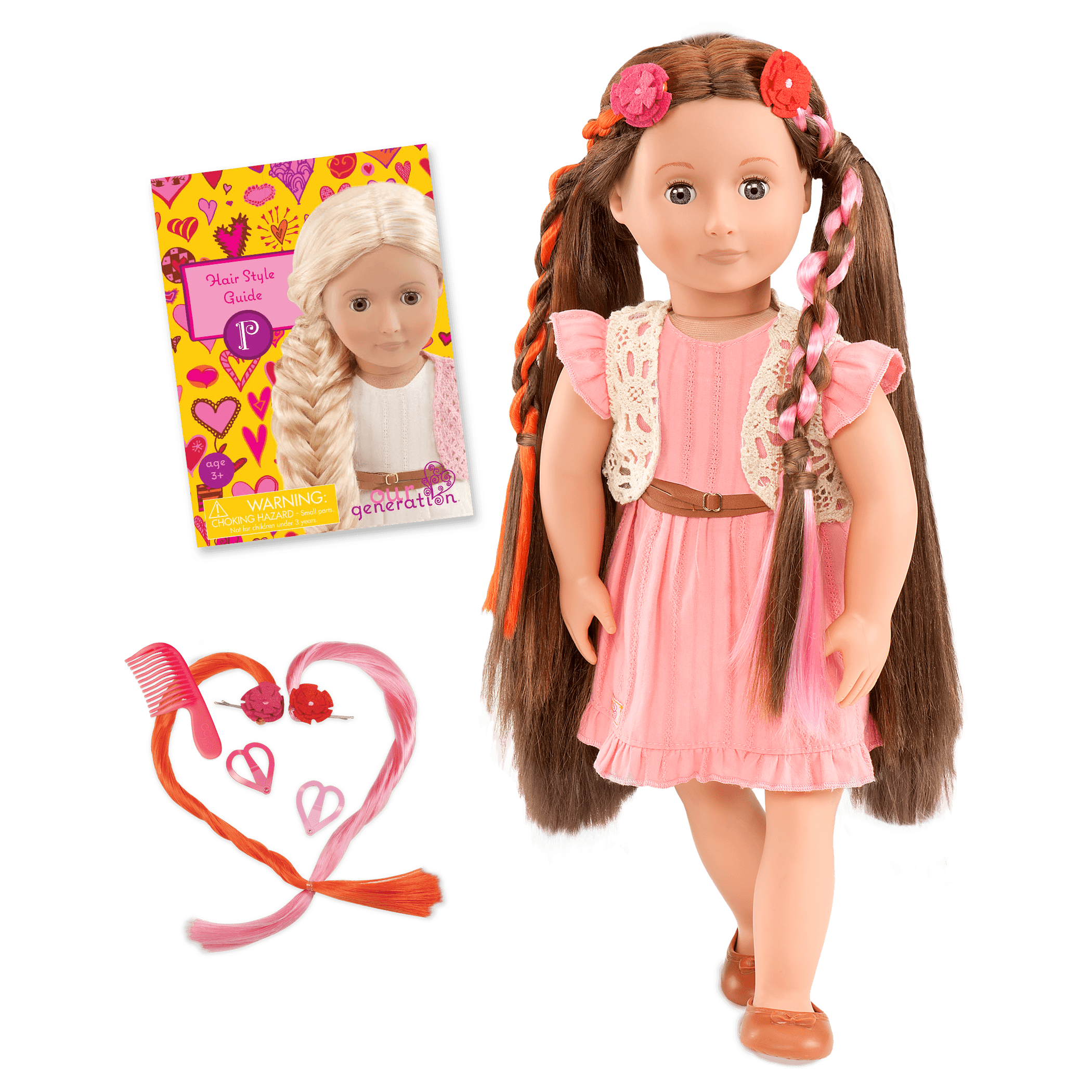 BD37017A MAIN Parker Pink Dress Hairplay Doll all components