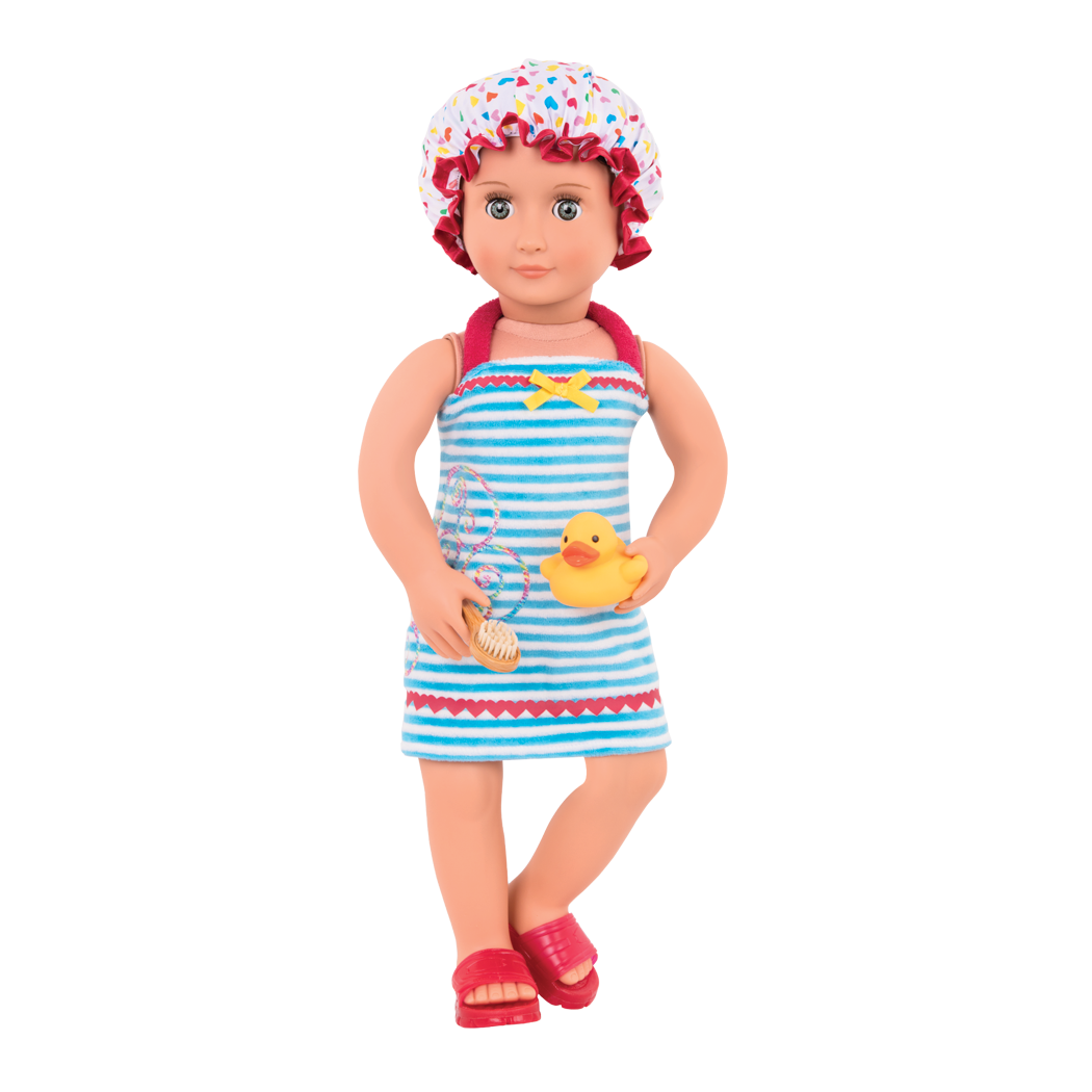 Duck and Bubbly bath outfit Everly doll wearing shower cap