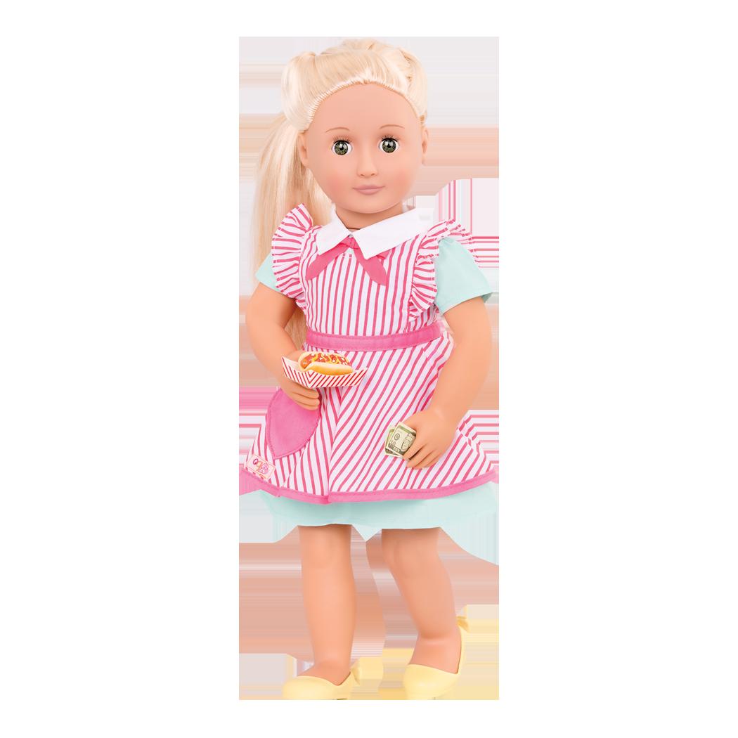 Retro Hot Dog Vendor Ginger doll holding hotdog