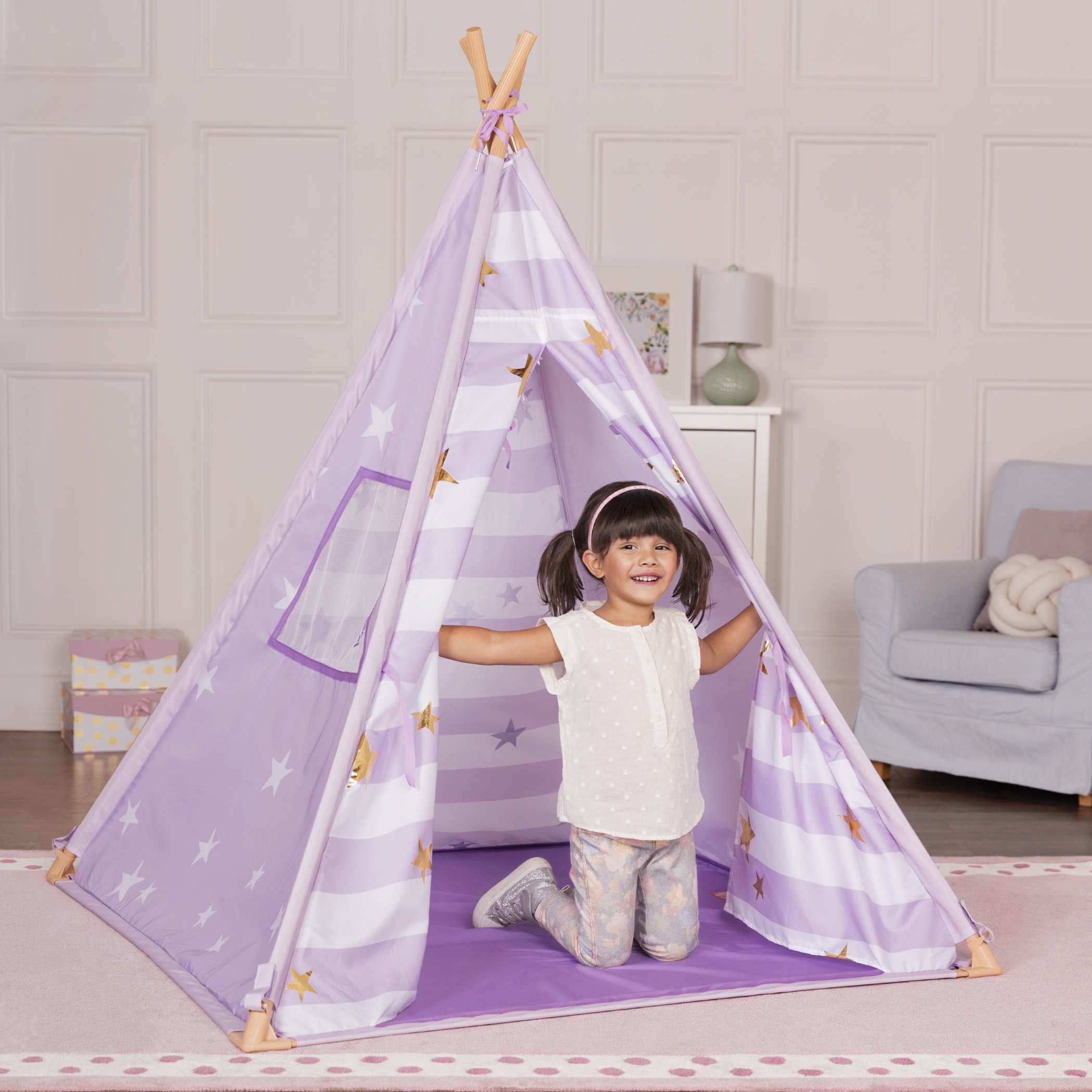 Lilac Suite Teepee little girl playing inside