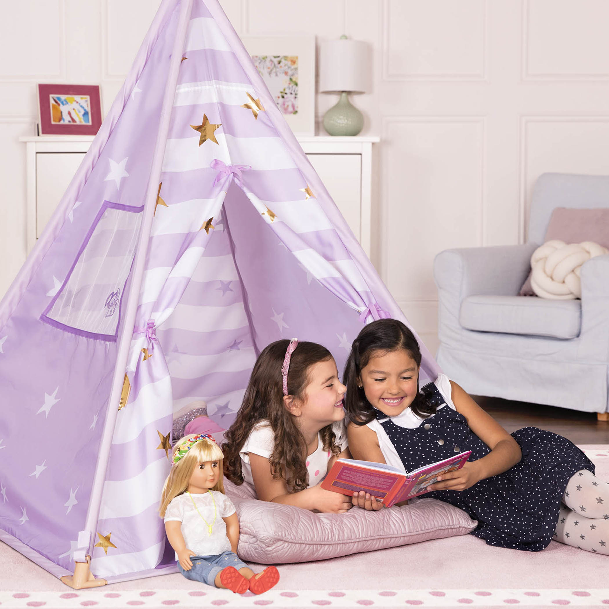 Lilac Suite Teepee two girls and Rowan doll playing inside