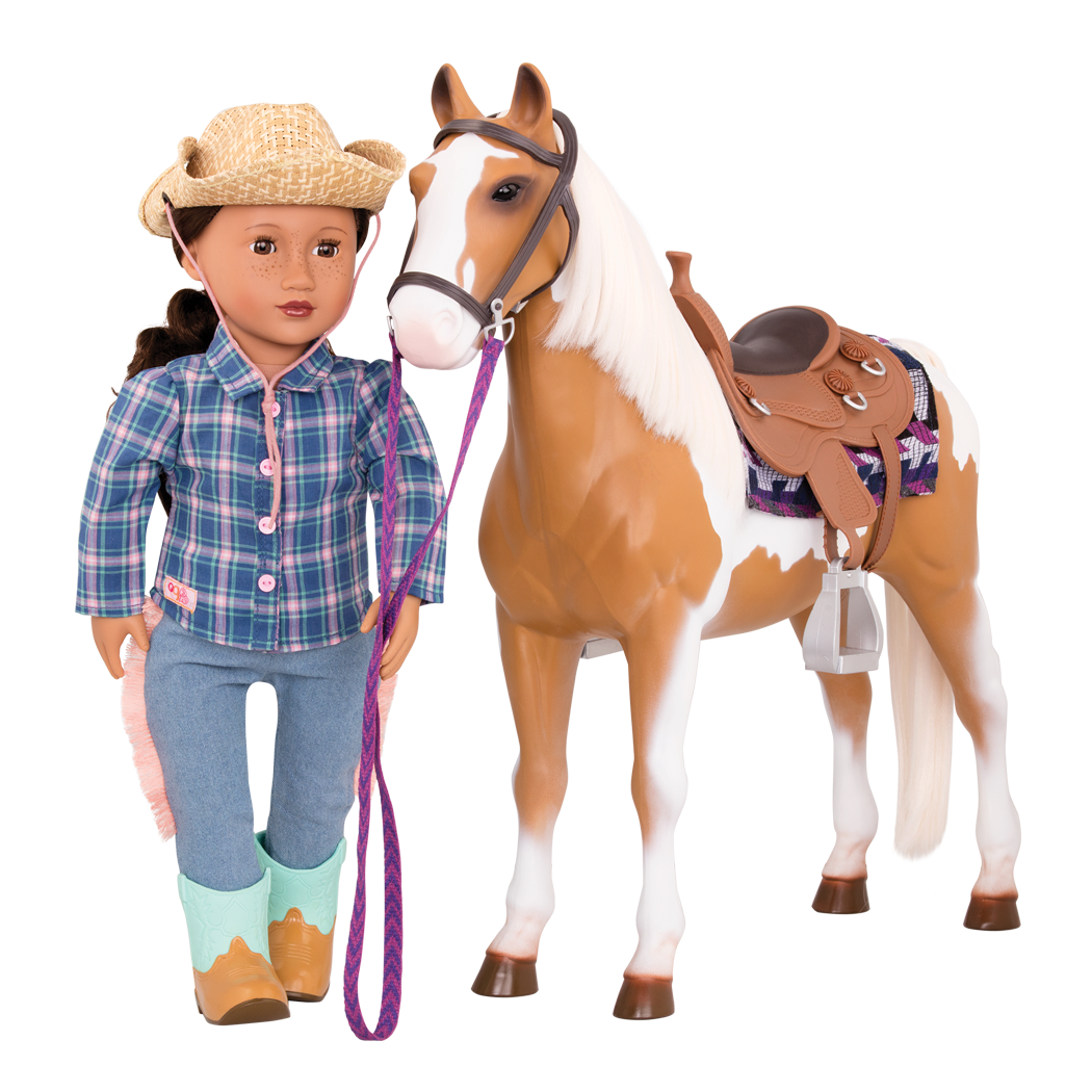 Stable Horse with melina doll walking