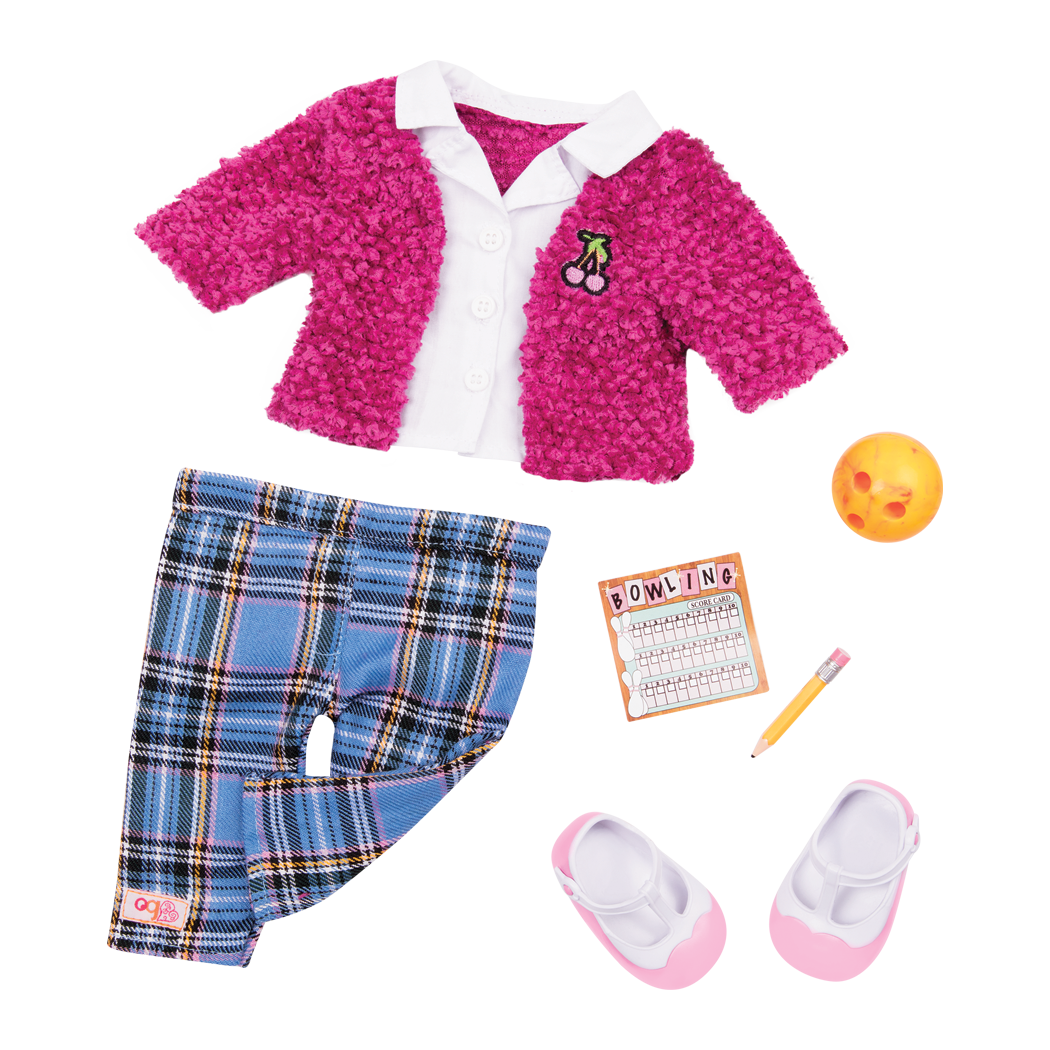 Cherries And Checkers retro bowling outfit for 18 inch dolls