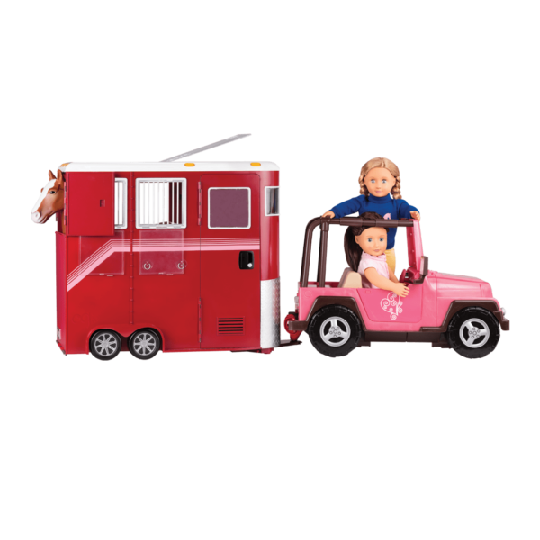 Montana Faye and Willow driving with Mane Attraction trailer