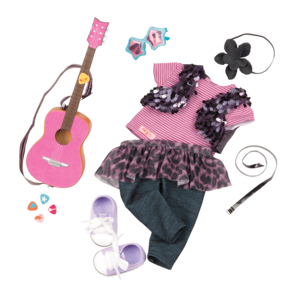 Detail of rock star outfit and accessories