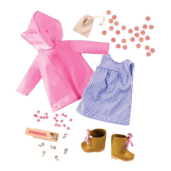 Detail of rainy day outfit and accessories