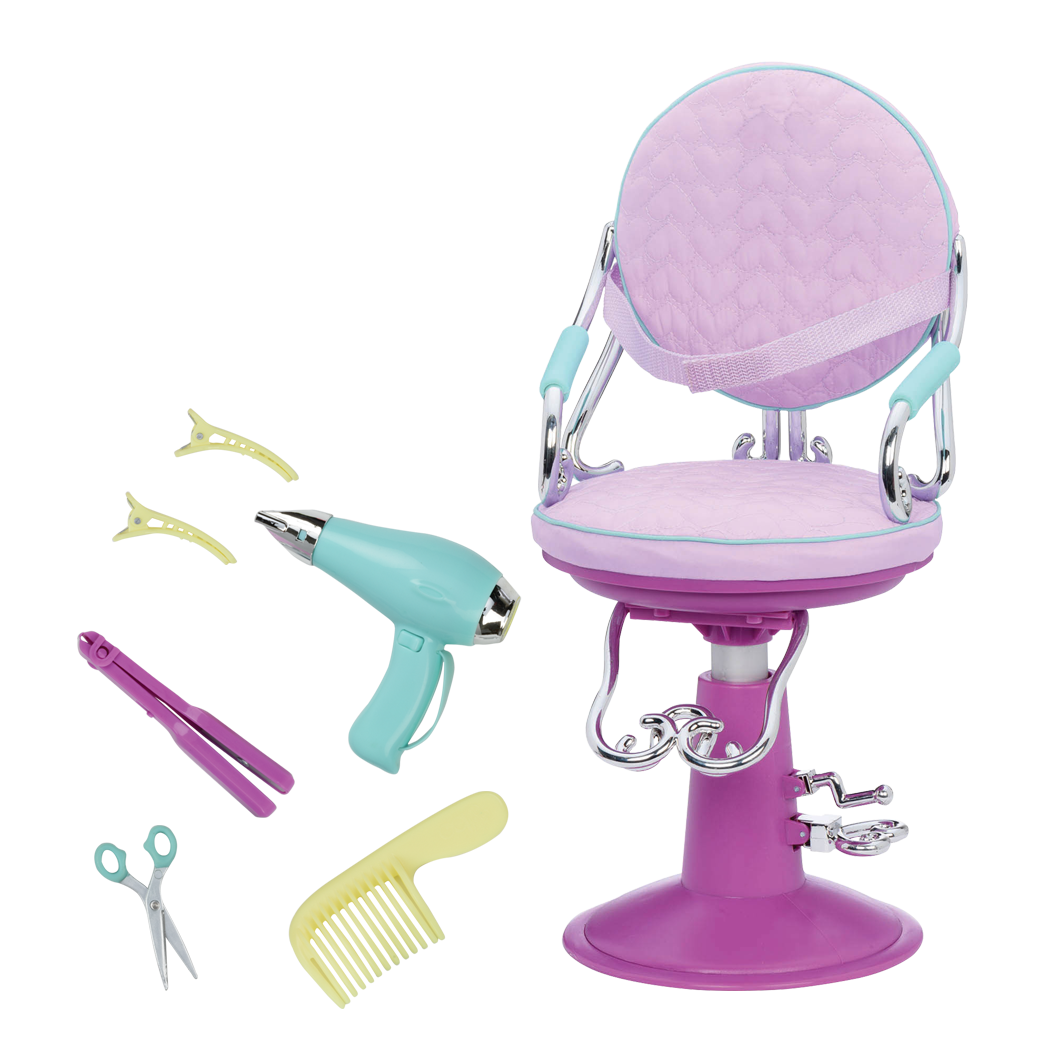 Sitting Pretty Salon Chair Lilac Hearts all components