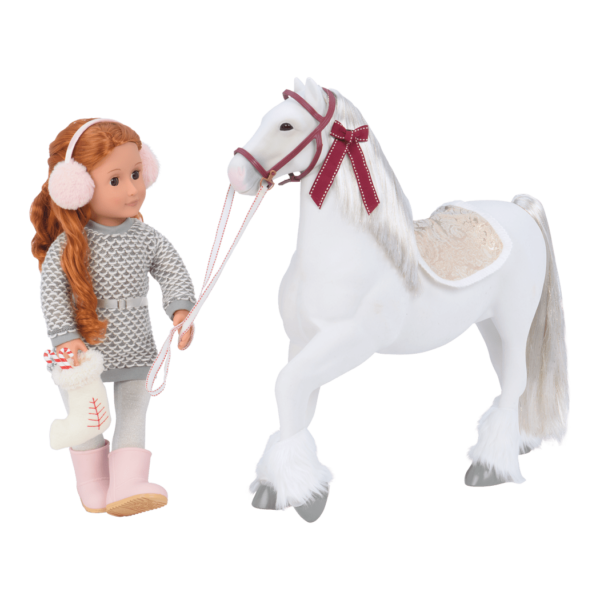 Clydesdale Horse with Noa doll leading horse