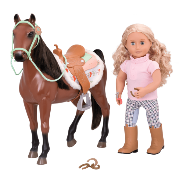 Bay Horse with Coral doll
