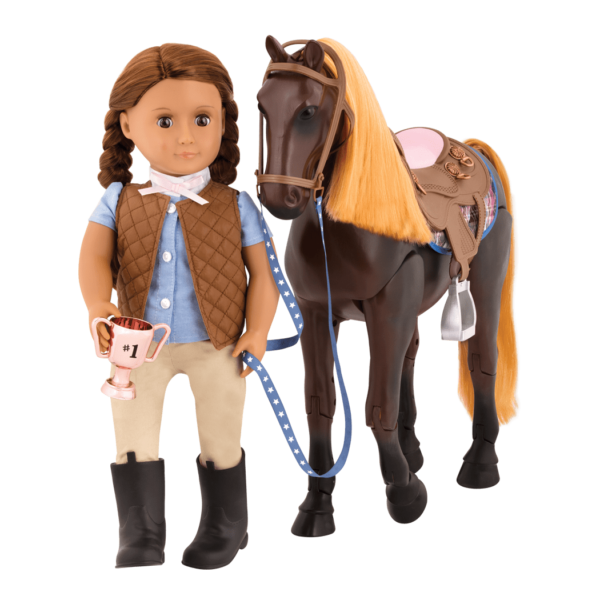 Posable Thoroughbred Horse with Catarina doll holding reins