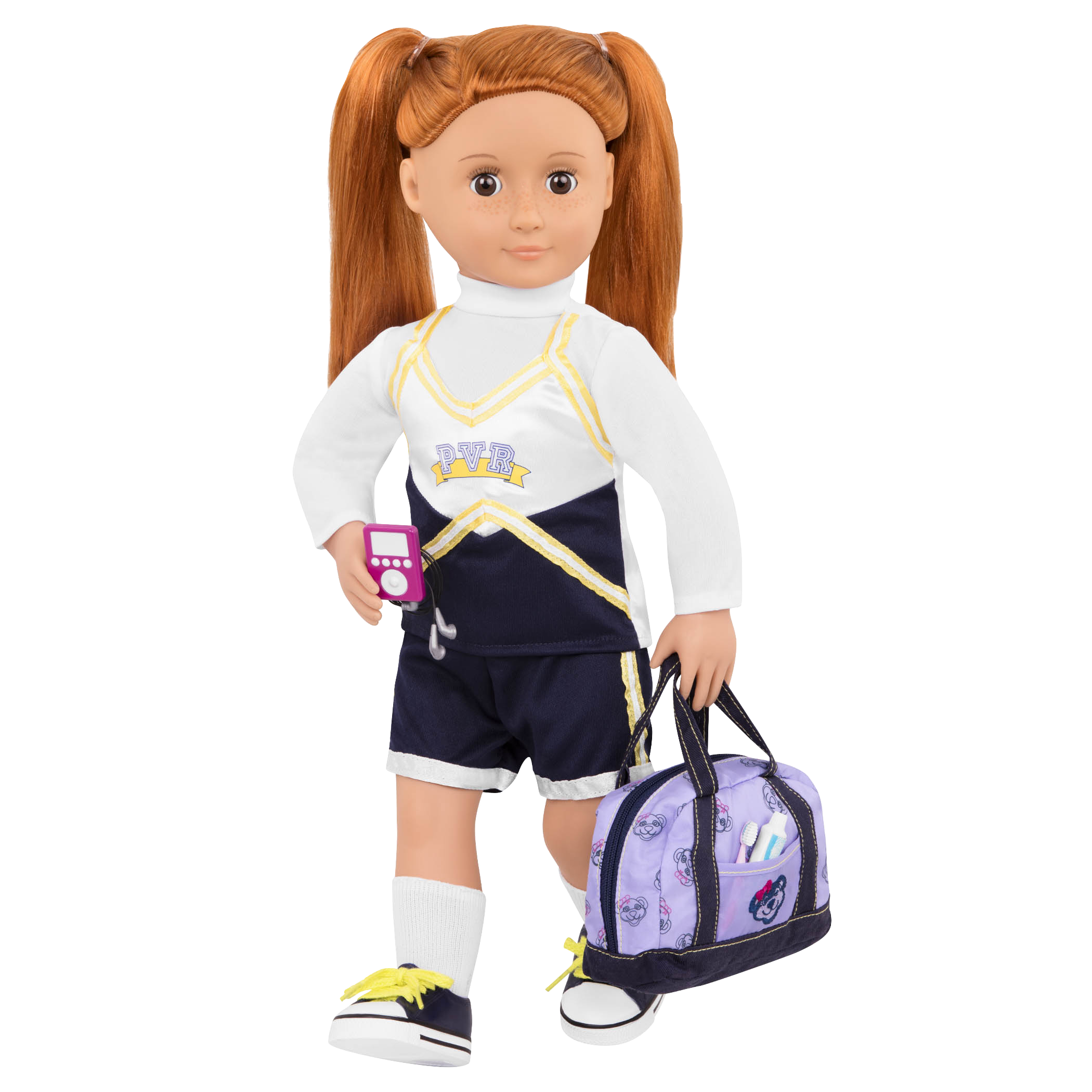 Cheerleader Camp Set Noa doll holding baG