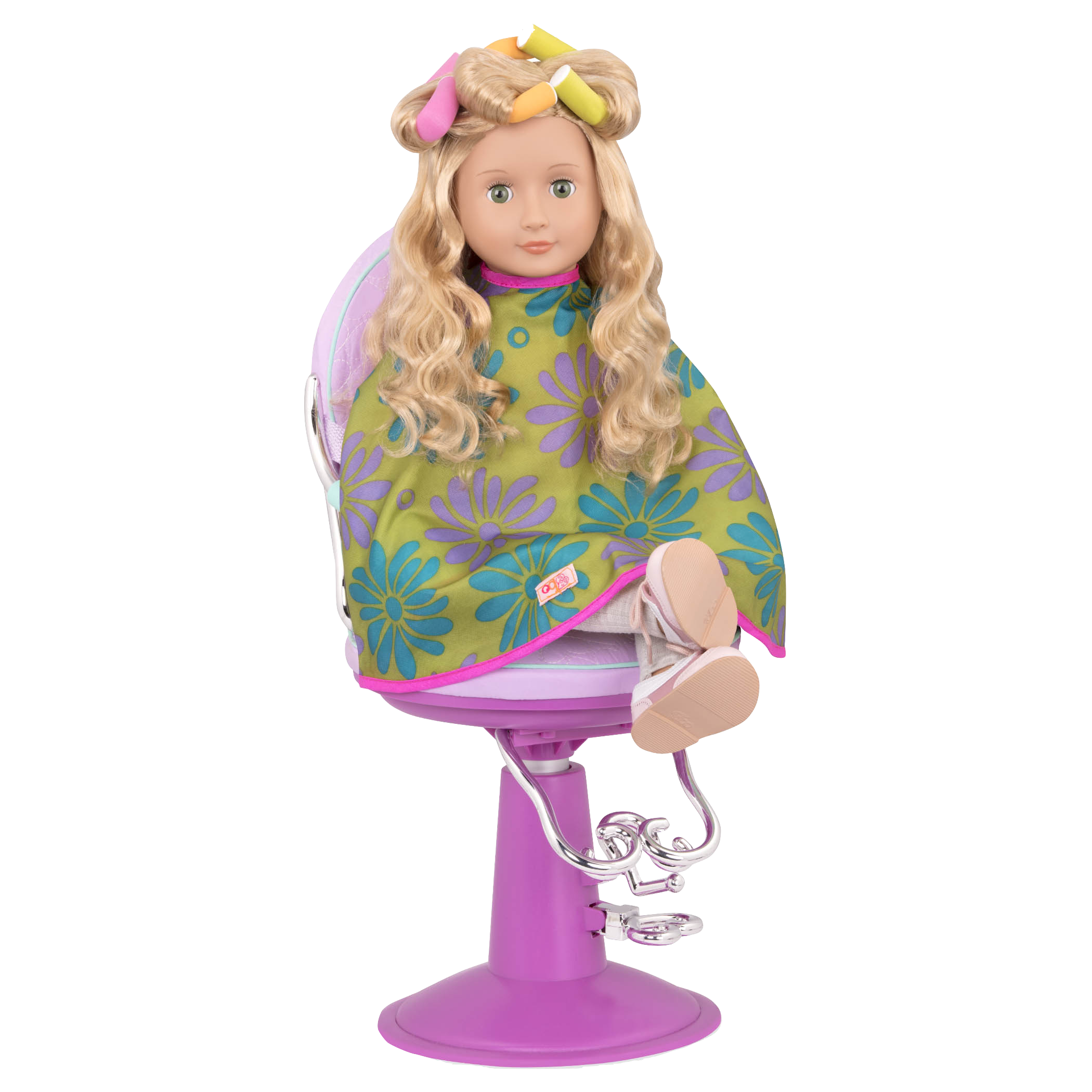 Lets hear It For the Curl Jenny doll wearing hair curlers
