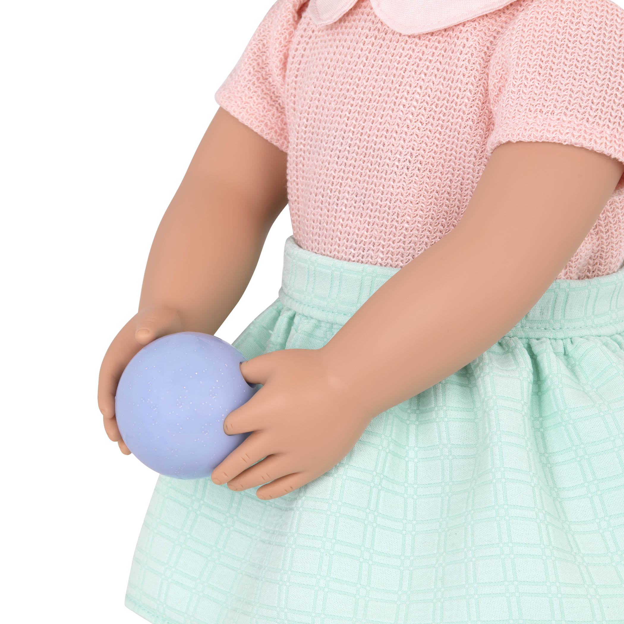 Detail of Kaye holding bowling ball