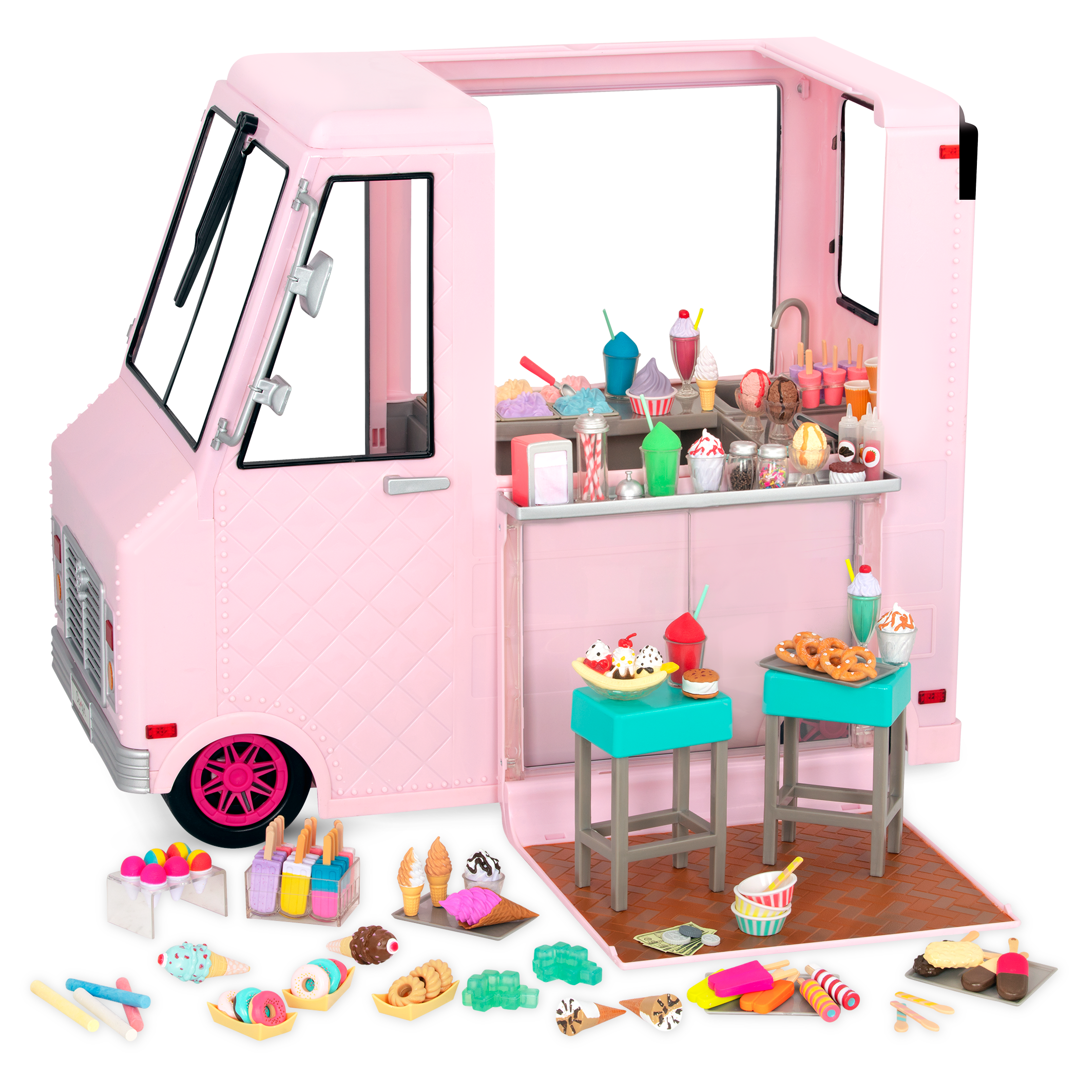 Sweet Stop Ice Cream Truck Pink all components