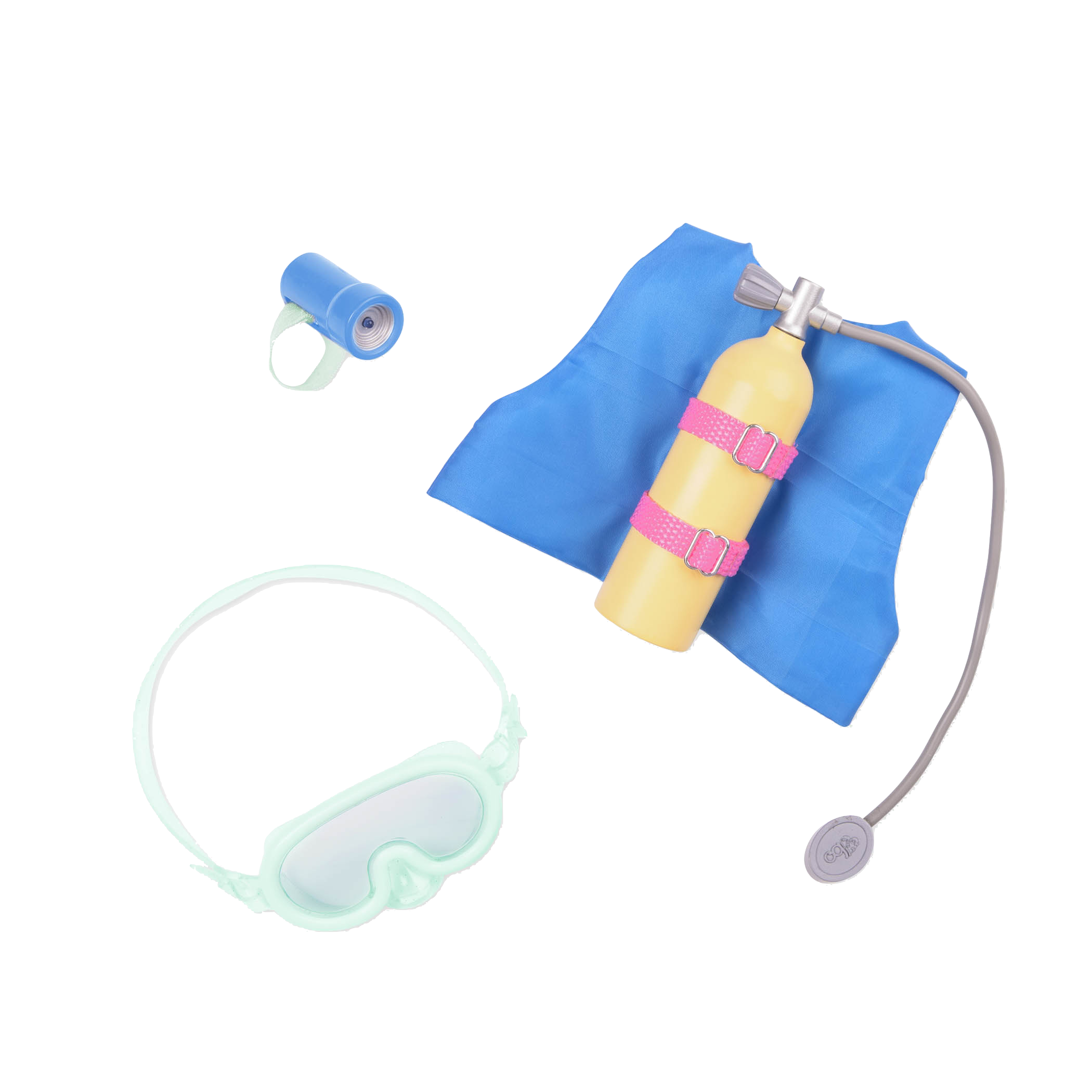 Detail of SCUBA accessories for dolls
