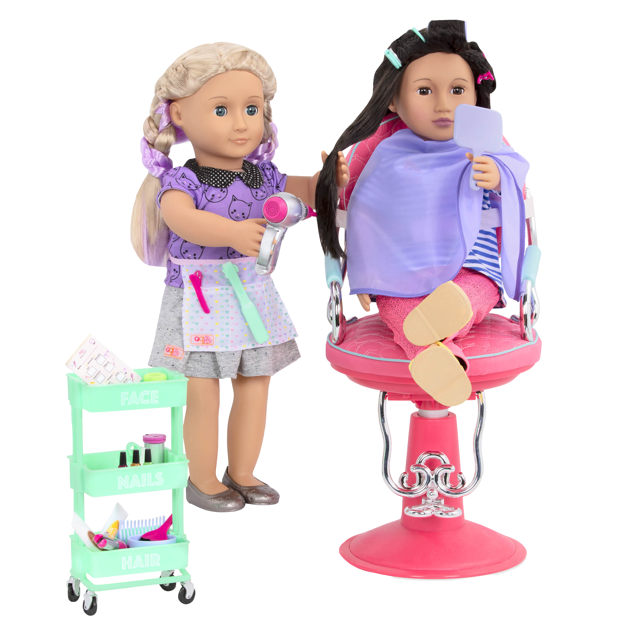 Berry Nice Salon Set purple and green Asako seated and Layla styling