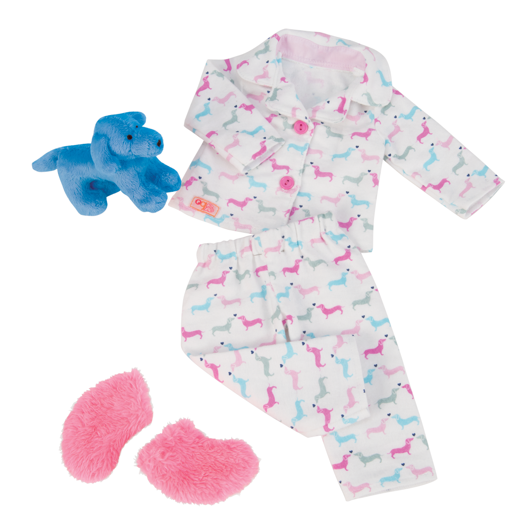 Counting Puppies pajama outfit all components