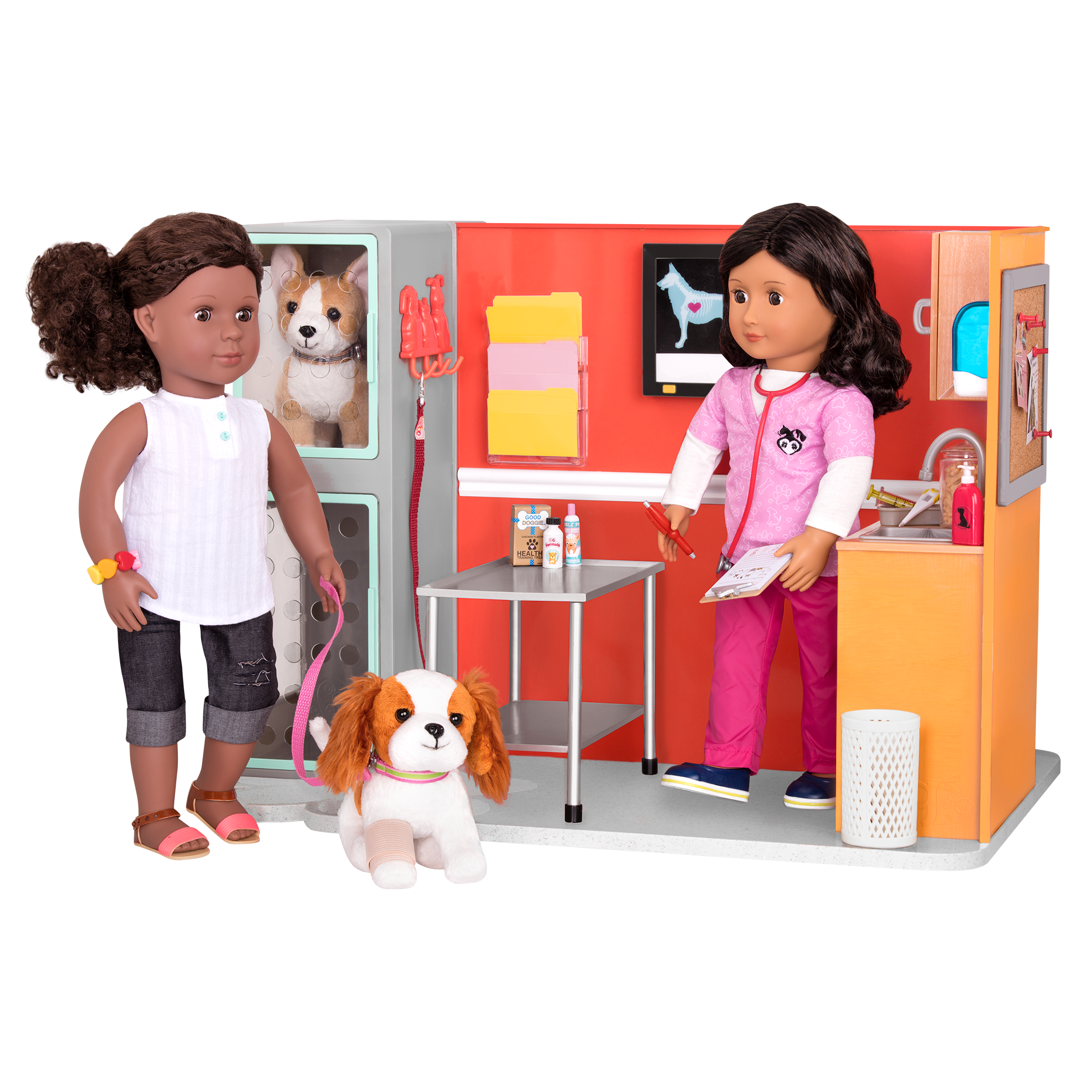 Healthy Paws Clinic Dedra and Blanca Dolls with pup