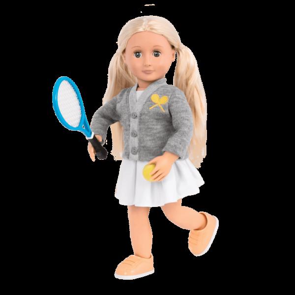 Tennis Togs Retro Ginger holding racket