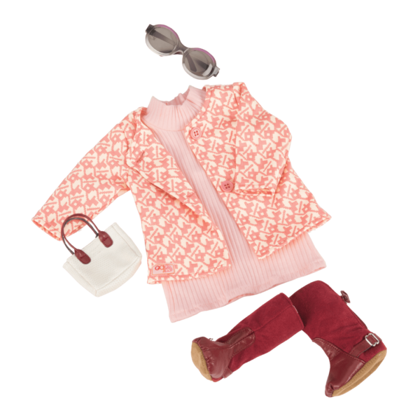 Rosy Picture Retro Outfit for 18-inch Dolls