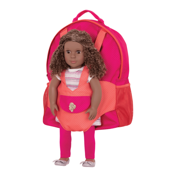 Hop On Carrier Backpack Bright Dots with Dedra in harness