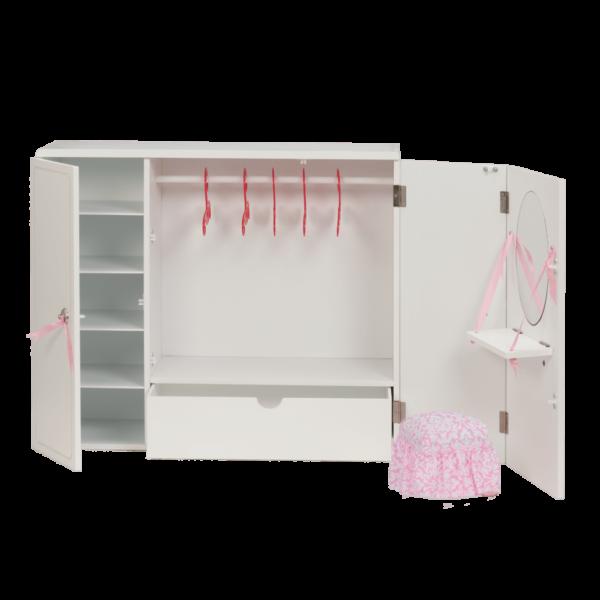 interior view of Wooden Wardrobe Closet for 18-inch Dolls