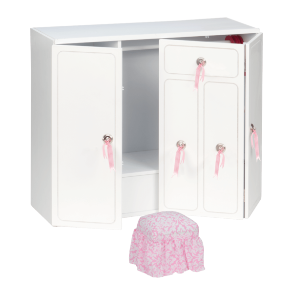 Wooden Wardrobe Closet for 18-inch Dolls