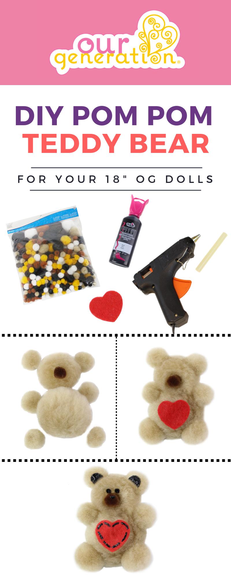 Infographic for making DIY Pom Pom Teddy Bears