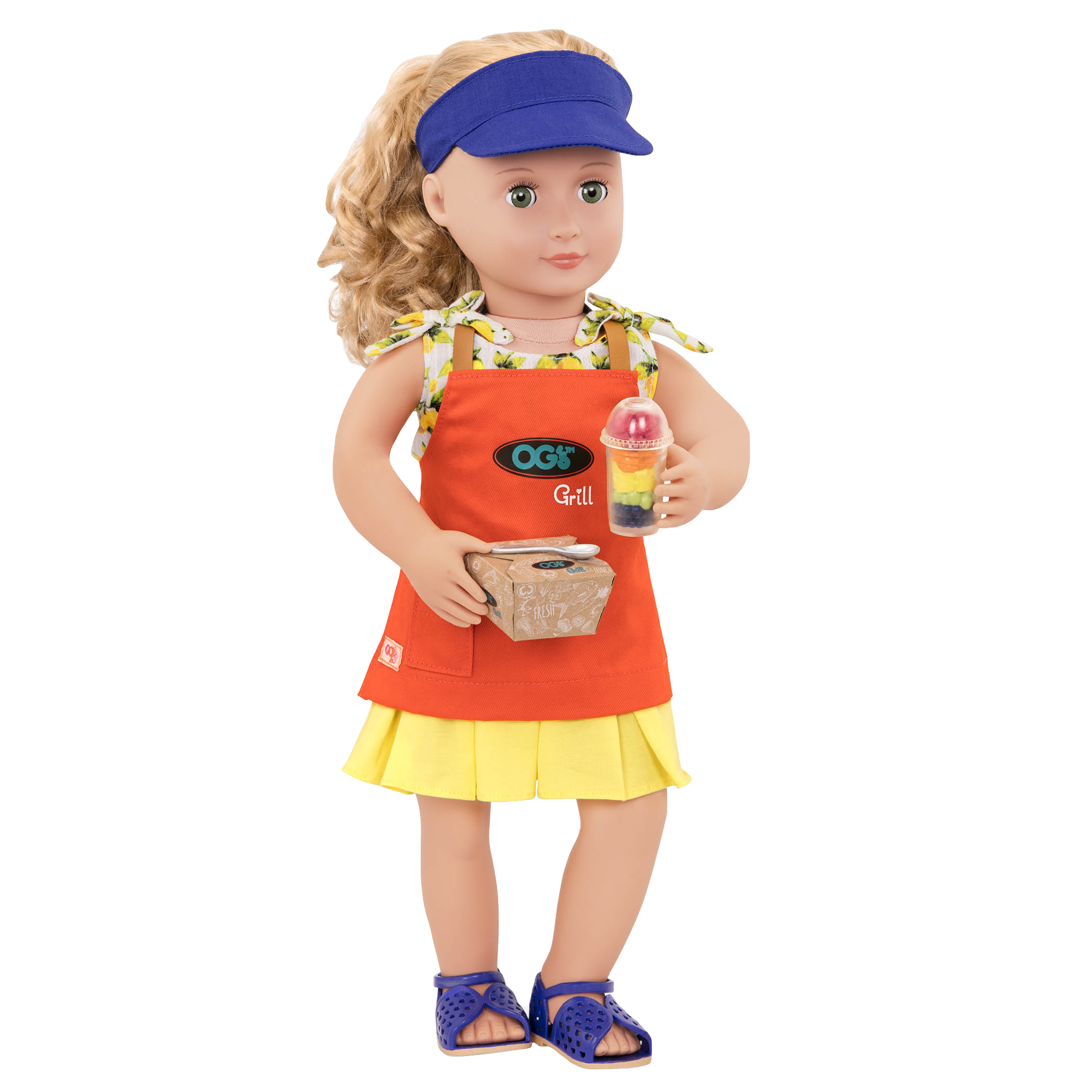 Jenny wearing clothes and holding Apron