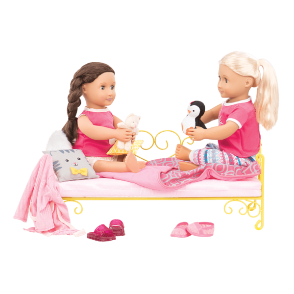 Set up a nice bed for your dolls with the Sweet Dreams Scrollwork Bed!