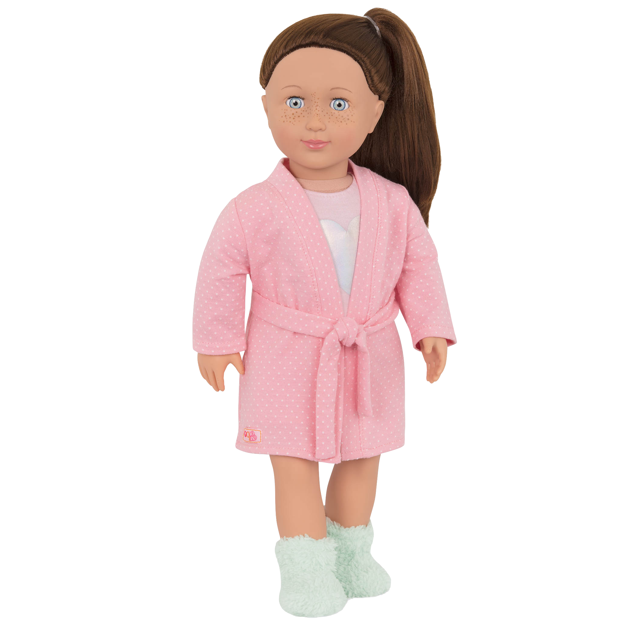 Meet Lake, an adorable sleepover doll with fuzzy socks!