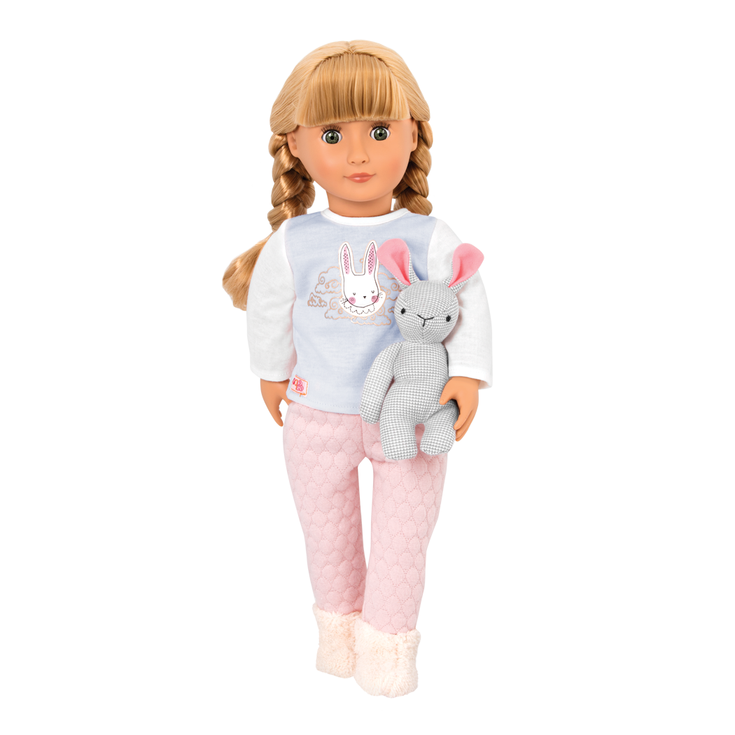 Meet Jovie, a cute sleepover doll with a plush bunny!