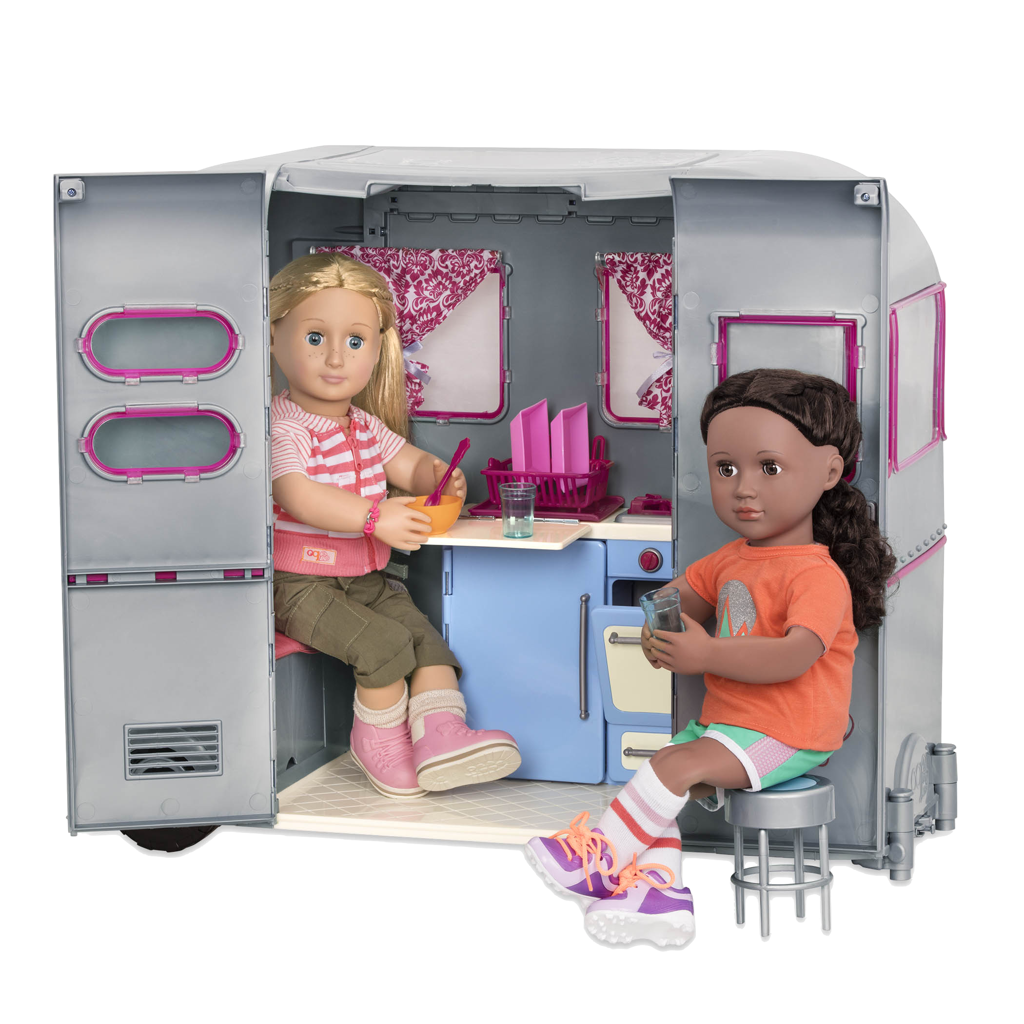 Rashida and Shannon playing in RV Seeing You Camper