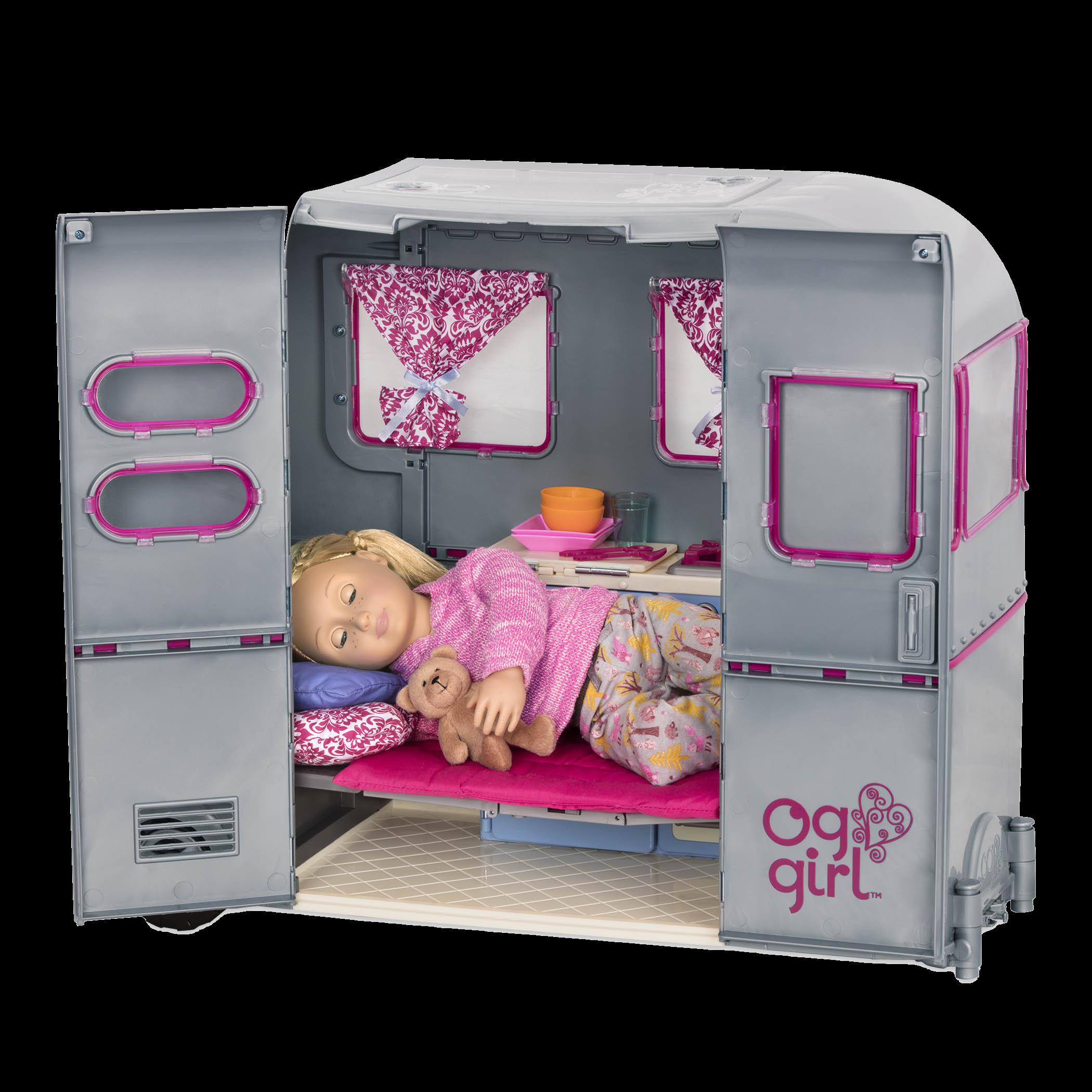 Shannon sleeping inside camper