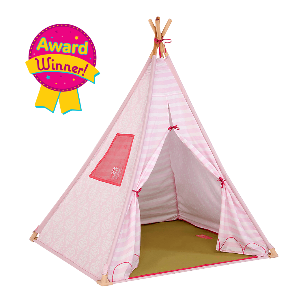 Suite Teepee- Pink Stripes Play Tent for Kids and Dolls