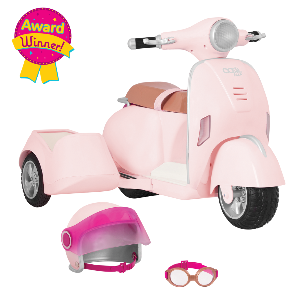 Ride Along Scooter with Sidecar for 18-inch Dolls - Award Winner!