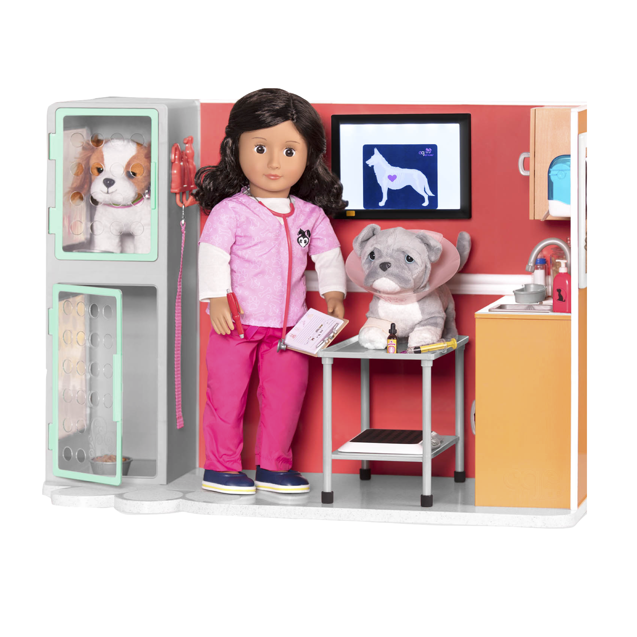 Pitbull Pup with paloma Vet Doll in Vet clinic