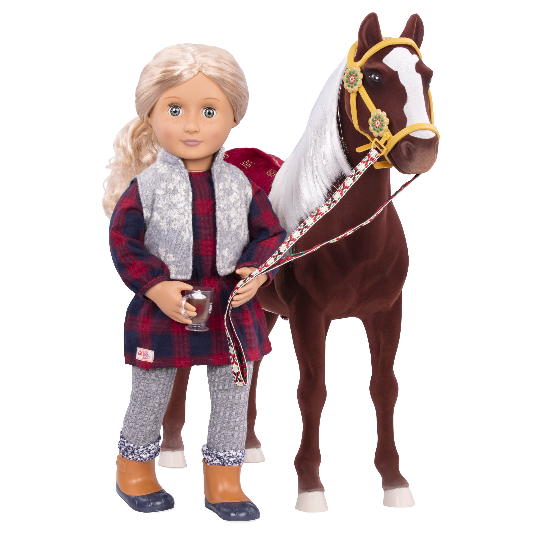 Coral and Winter Wonder horse wearing cocoa cozy outfit