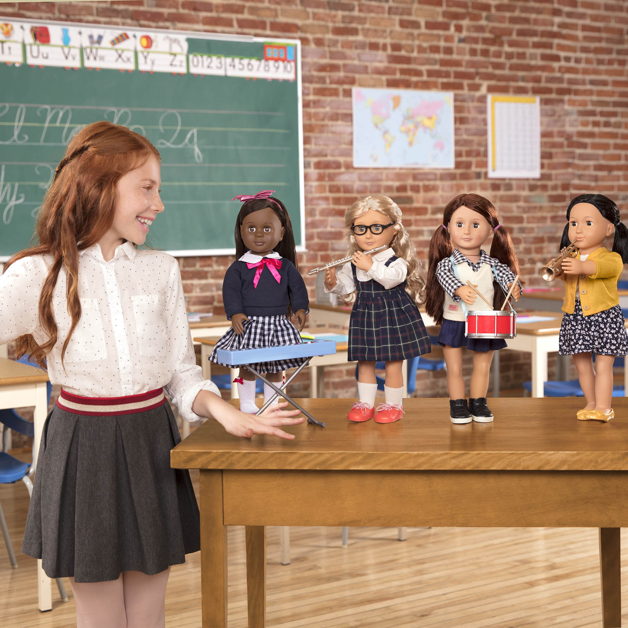 School Band Playset with girl in classroom playing with dolls