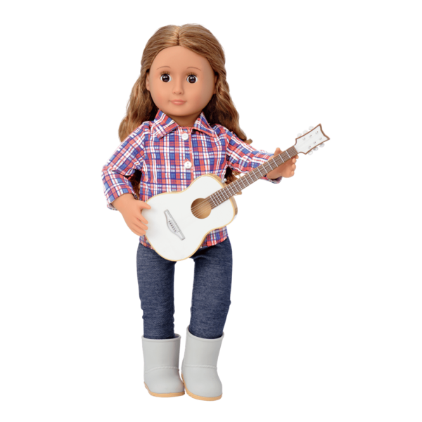 Isa holding guitar and wearing outfit