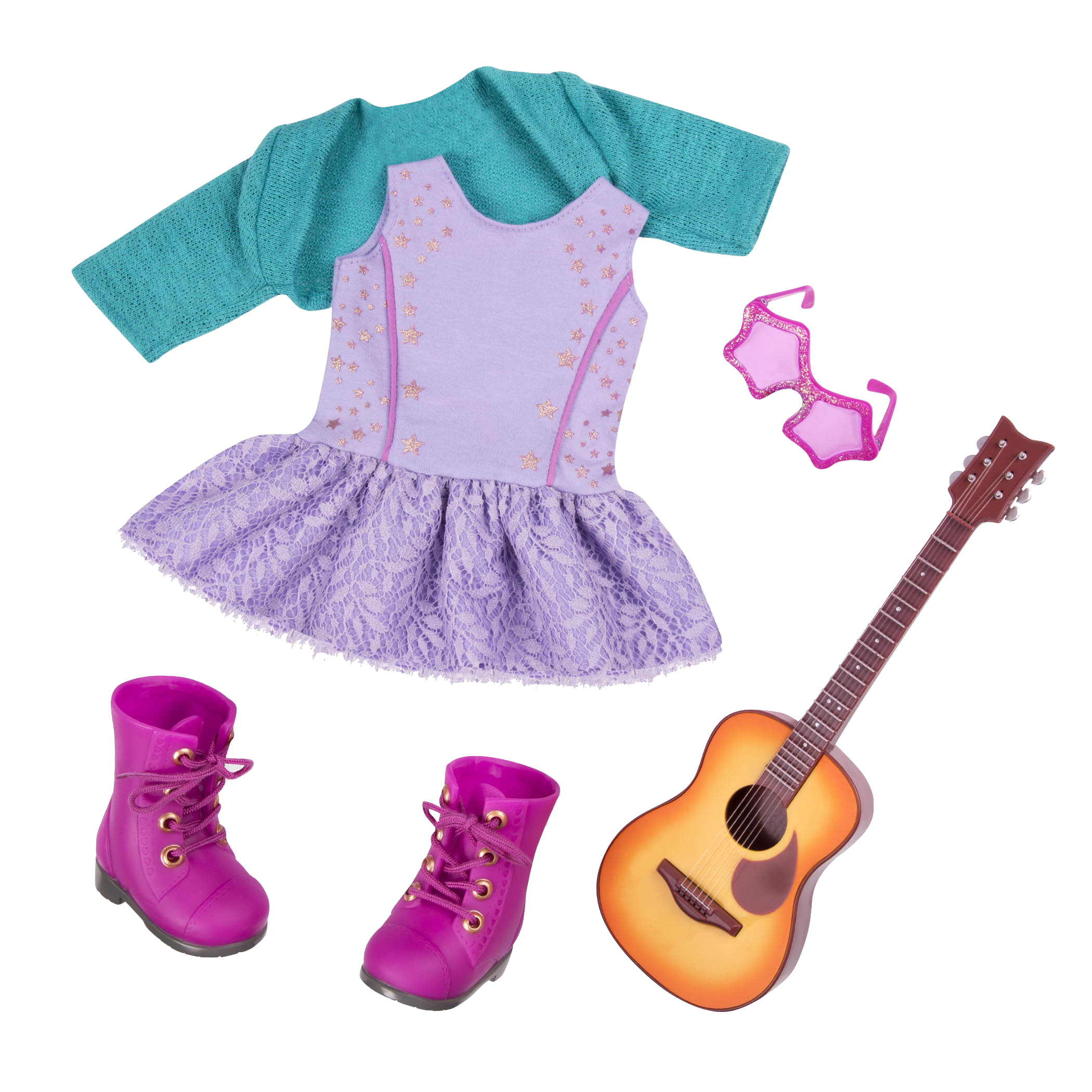 Melodies and Memories guitar Outfit for 18-inch Dolls