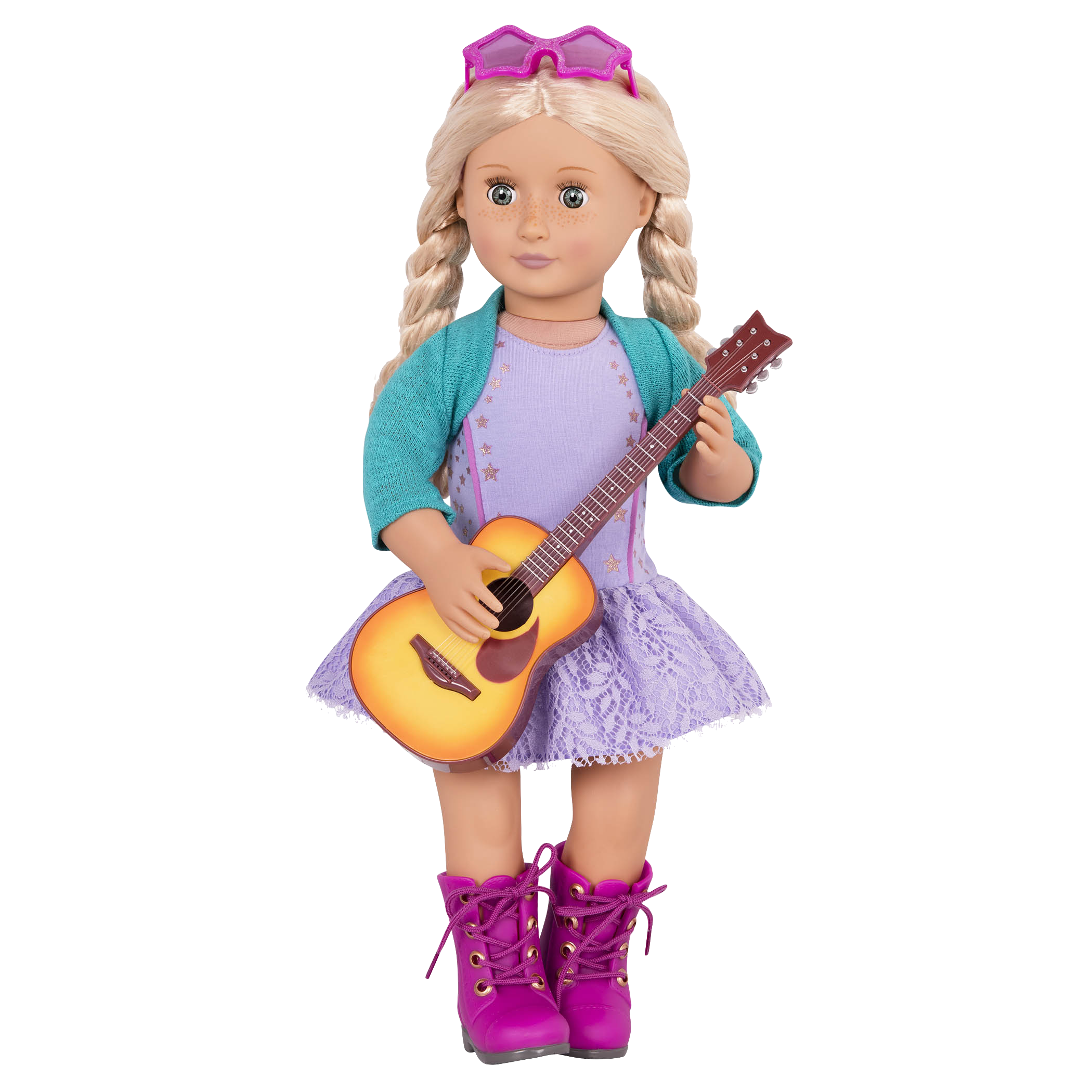 Coral holding guitar and wearing dress