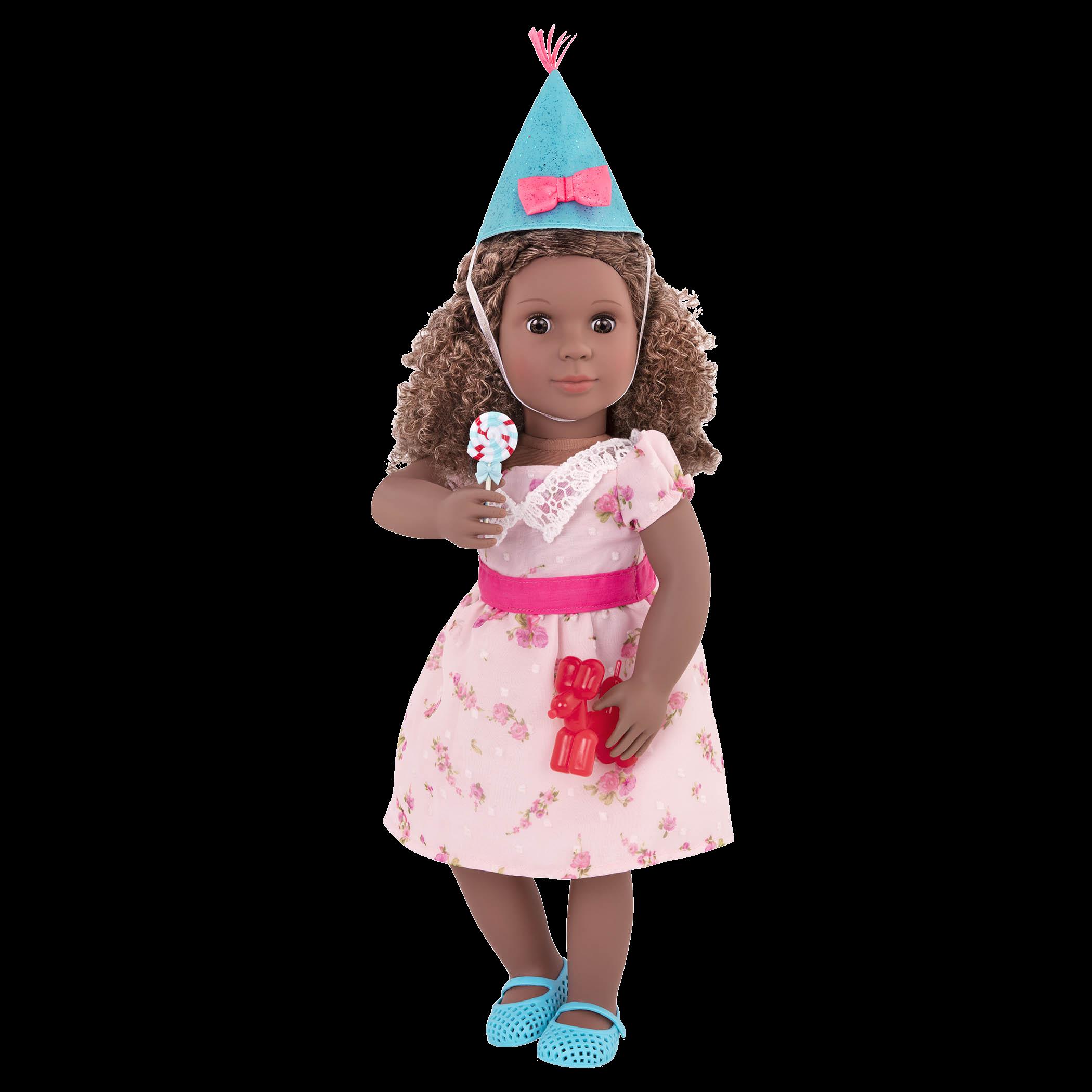 Denelle wearing Lollipop Hop holding lollipop