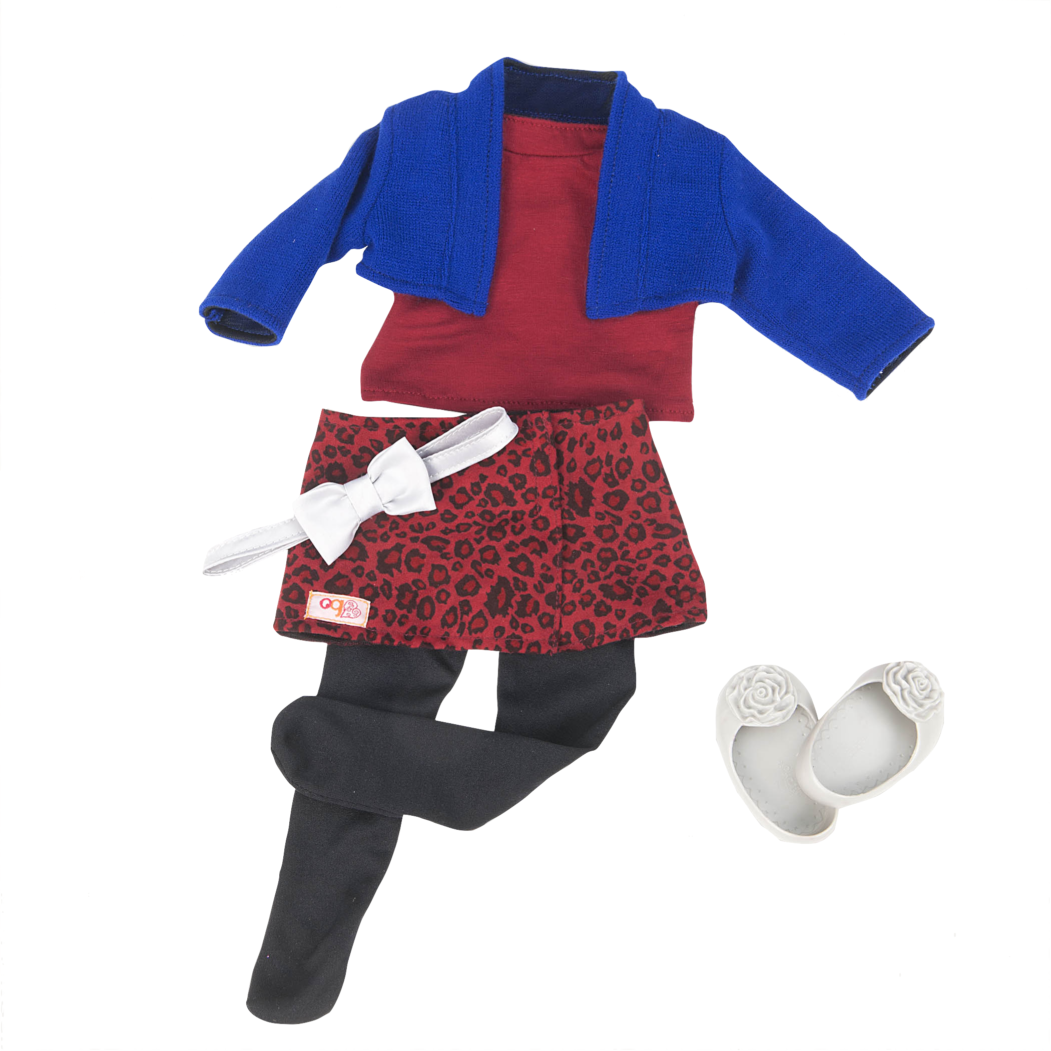 Purrfect Print leopard Skirt outfit for 18-inch Dolls